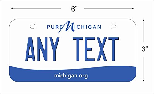License Scooter Plate - Michigan State Replica Novelty License Plate for Auto, Mini License Plate For Bicycles, Bikes, Wheelchairs, Golf Carts personalized with your Text custom vanity Decorative plate
