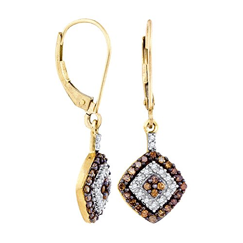 10kt Yellow Gold Womens Round Cognac-brown Colored Diamond Square Dangle Earrings 1/2 Cttw (I2-I3 clarity; Brown color)
