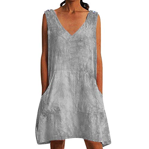 BODOAO Women's Mini Dress Casual Leisure Printed Sexy Tie-Dyed Sleeveless Dresses Gray ()