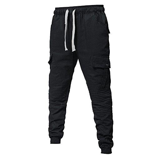 D'hommes De Cordon Pantalon Lâches Occasionnels Cravate Noir Pantalons Sport Ceintures Survêtement Mode a6tq4