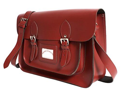 Oxbridge Satchel's - Bolso estilo cartera para mujer rojo mediano