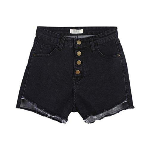 Lihaer Femmes Short En Jean Taille Haute Sexy Pantalon Chaud Rtro De Mode Jean Stretch Slim D't Noir