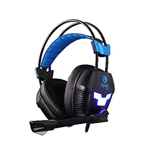 SADES Gaming Headset XPOWER Plus Over-Ear PC Headphone with Noise-Cancelling Microphone, Elastic Suspension Headband, LED Light, Volume Control for Windows, USB Earphones for Computer Gamers