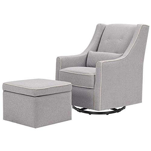 DaVinci Owen Upholstered Swivel Glider with Side Pocket and Storage Ottoman, Grey with Cream Piping from DaVinci