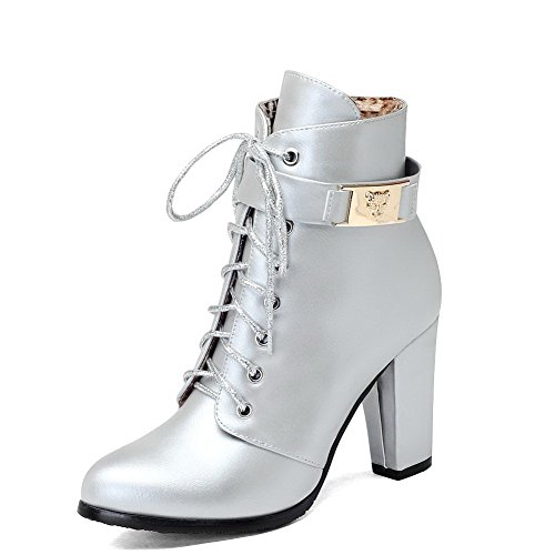 AgooLar Women's Round Closed Toe Low-top High-Heels Solid PU Boots Silver ELM4dhw5a