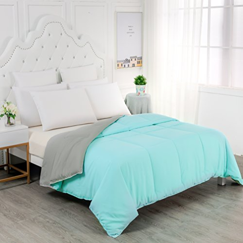 YGJT Lightweight Solid Comforter Blanket Queen Goose Down Alternative Comforter Set Ultra Soft All Seasons Comforter Duvet-Aqua Grey Machine Washable