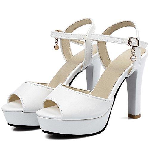 Coolcept Mujer Moda Al Tobillo Sandalias Peep Toe Singback Plataforma Tacon Embudo Zapatos Blanco