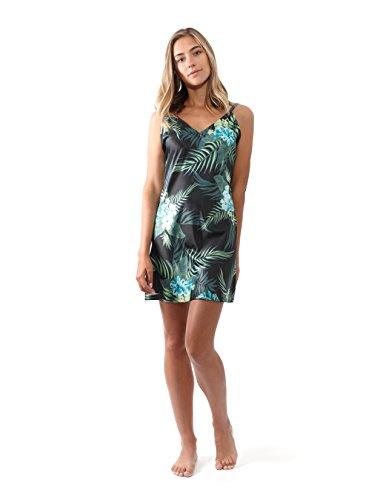 Charmeuse Stretch Halter Dress (Jones New York Women's Sleeveless Silky Nightgowns, Tropical Slip-On Chemise (Small))