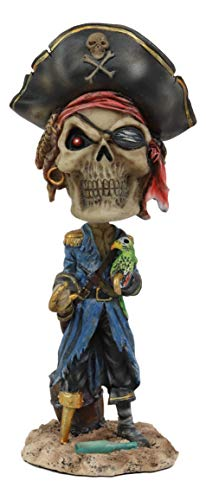 Ebros Gift Day of The Dead Pirate Buccaneer Captain Skeleton with Parrot Bobblehead Figurine 7.5