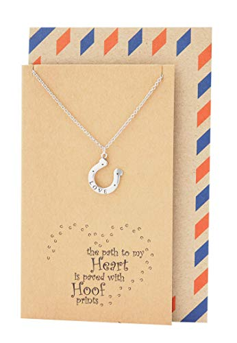 Quan Jewelry Horseshoe Pendant Necklace, Lucky Jewelry, Friendship Engraved Horse Gifts for Women, Teens, Girls, Boss, Dainty U Pendant with Inspirational Greeting Card