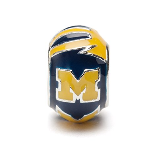 (University of Michigan Charm | UM Wolverines Blue and Maize Round Bead Charm | Officially Licensed University of Michigan Jewelry | UM Gifts | Michigan Wolverines | UM Charms | Stainless Steel )