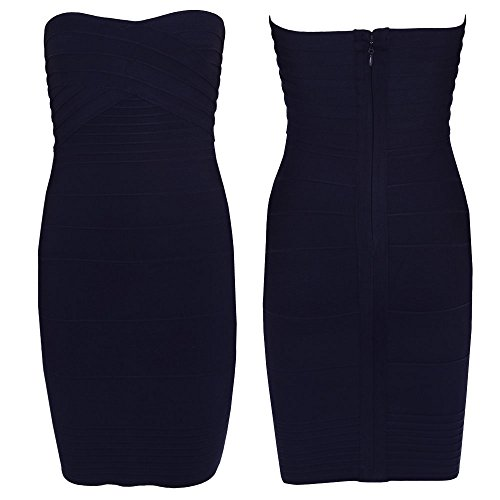 Bodycon Mini Dress Women's Hlbandage Bandage Sexy Nero Strapless qZWUcwRcP