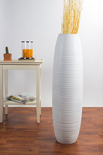 Tall Floor Vase 36 inches, Wood, White (Inch Tall 36 Vases Floor)