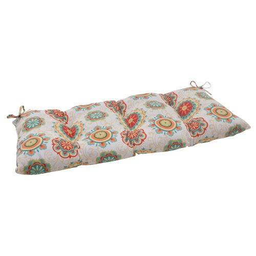 Pillow Perfect Indoor/Outdoor Farrington Aqua Swing/Bench Cushion from Pillow Perfect