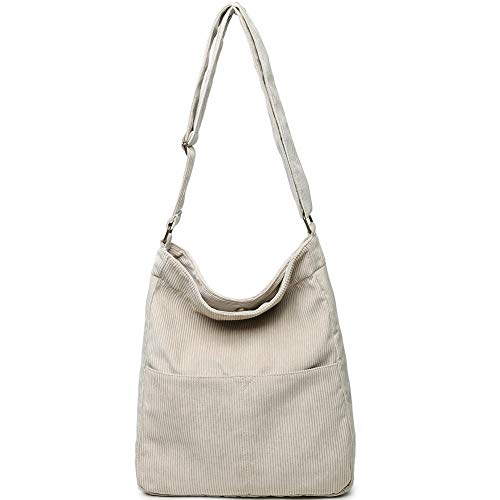 BOBILIKE Women Shoulder Bags Corduroy Crossbody Bag Handbag Purse Schoolbag, Beige