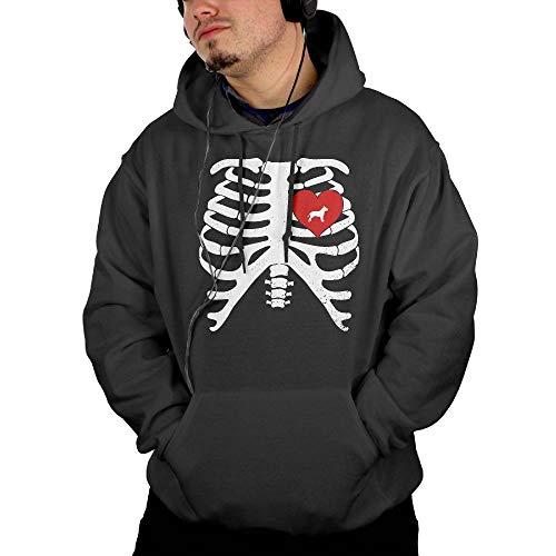 Skeleton Rib Cage Costume Halloween with Pitbull Mens Hoodies Hooded Sweatshirt with Pocket