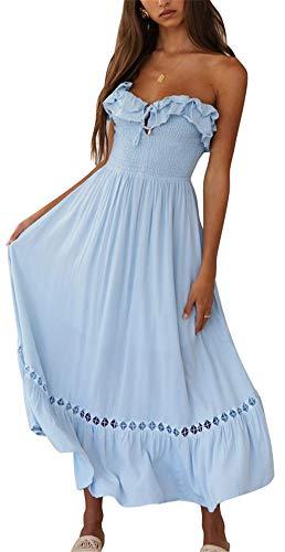 - BOCOTUBE Women's Summer Sleeveless Strapless Ruffle Off Shoulder Swing Cocktail Party Dress Blue