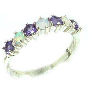 925 Sterling Silver Real Genuine Opal & Amethyst Womans Eternity Ring