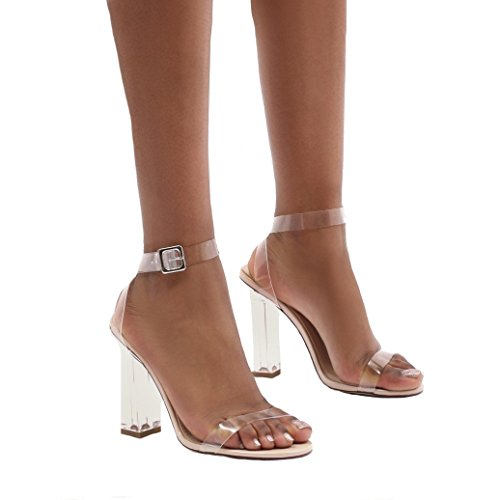 Public Desire Womens Alia Strappy Perspex High Heels Through Toe Strap Shoes Nude UK 8 / EU 41 / US 10 from Public Desire