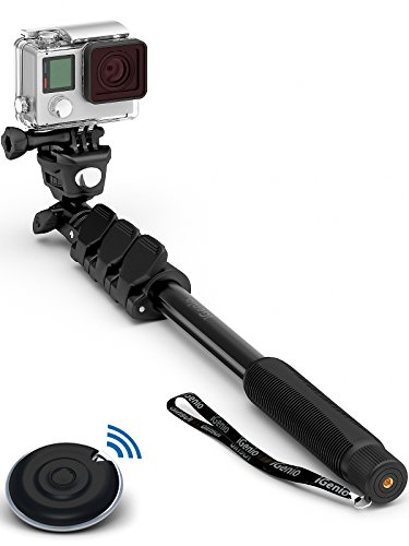 "Professional 10-In-1 Monopod Selfie Stick For All GoPro Hero, Action Cameras, Cellphones, Digital Compacts with Bluetooth Remote Shutter - Extends 15""- 47"", Weatherproof Shockproof - Take It Anywhere"
