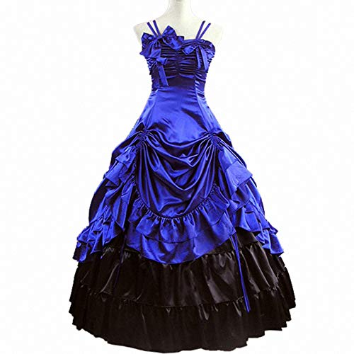 I-Youth Womens Gothic Victorian Dresses Ruffles Sleeveless Long Prom Ball Gown Cosplay Halloween Masquerade Costumes (XXL, Royal -