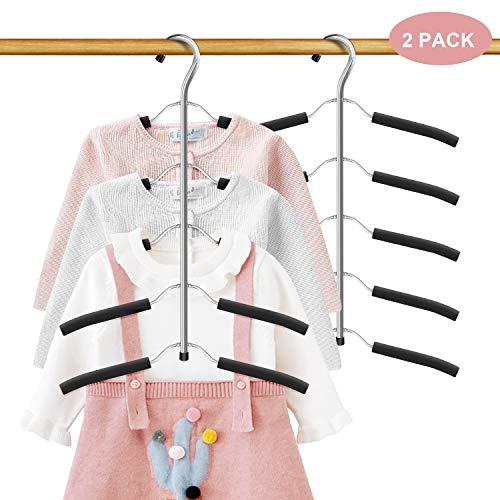 DOIOWN Children's Hangers Kids Clothes Hangers Non Slip Blouse Tree Hanger Baby Hangers Space Saving Stainless Steel Closet Organizer (2, Black)