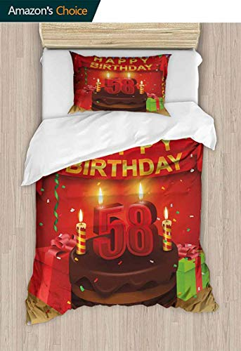 - Temox 58th Birthday Bedding Bedspread, Celebration Birthday Party Surprise Chocolate Cake Fun with Friends Design, Kids Bedding - Double Brushed Microfiber,47 W x 59 L Inches, Multicolor