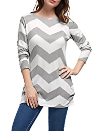 Allegra K Women's Chevron Pattern Knitted Relax Fit Tunic Shirt