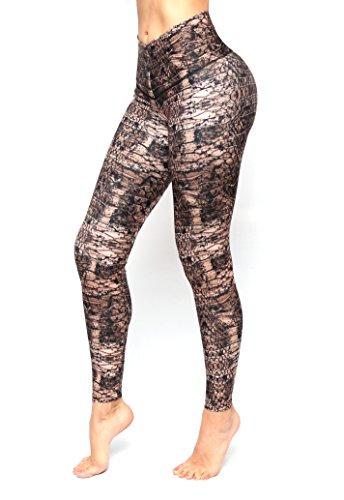 Brown Snake Animal Print Leggings With Slim And Tone Control By Bon Bon Up