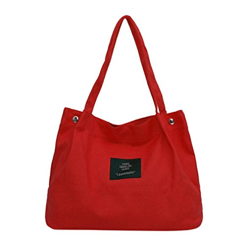 Rakkiss Girls Canvas Bag Women Crossbody Shoulder Handbag Retro Female Simple Letter Shop Bag (One_Size, Red)