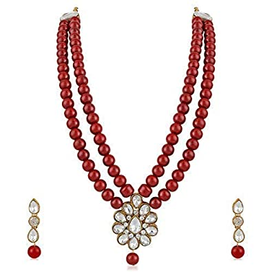 98d4874a7 Buy MEENAZ Jewellery Gold Kundan Pearl Ruby Maang Tikka Necklace Jewellery  Sets with Earrings for Women & Girls- NL-305 Online at Low Prices in India  ...