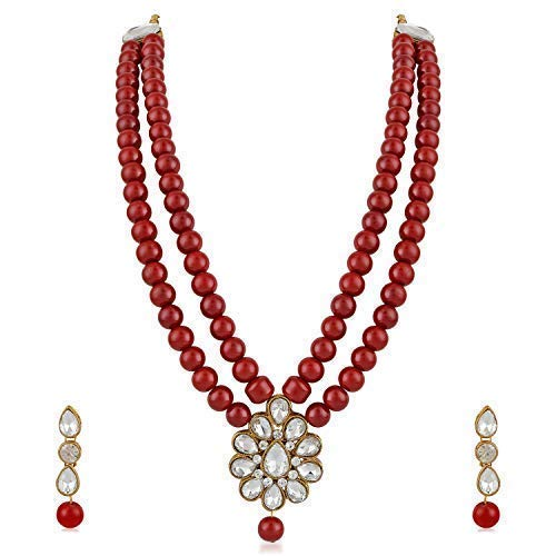 MEENAZ Latest Gold Kundan Pearl Ruby Maang Tikka Necklace Jewellery Sets with Earrings for Women & Girls- NL-305 product image