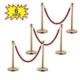 JAXPETY 3 Sets Round Top Polished Brass Stanchion Posts Queue Barrier, Pack of 6 Posts with Red Velvet Ropes,Gold