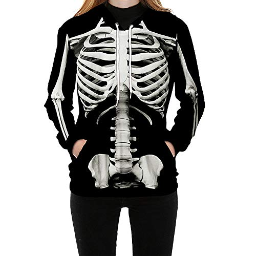 Ytwysj Unisex Adult Fancy Part Long Sleeve Halloween Graphic Skeleton Print Drawstring Pullover Hoodie Sweatshirt Jumper Tops