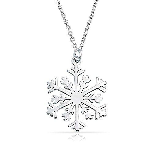 Rhodium Snowflake Pendant (Bling Jewelry Polished Snowflake Pendant Rhodium Plated Necklace 18 Inches)