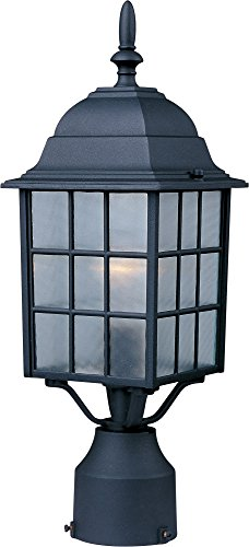 Maxim 1052BK North Church 1-Light Outdoor Pole/Post Lantern, Black Finish, Clear Glass, MB Incandescent Incandescent Bulb , 25W Max., Dry Safety Rating, 2900K Color Temp, Standard Dimmable, Glass Shade Material, 5520 Rated Lumens by Maxim Lighting