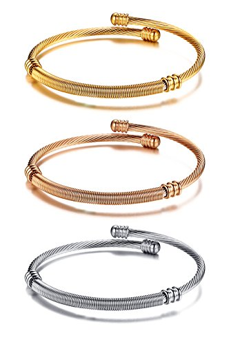 Fashion Stainless Steel Triple 3 Stackable Cable Wire Twisted Cuff Bangle Bracelets Set for Women (Triple Bangle Bracelet Set)