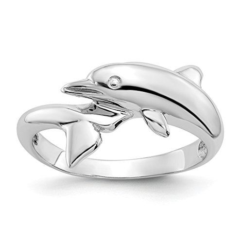 Dolphin Gold White Ring (14k White Gold Dolphin Band Ring Size 6.75 Animal Fine Jewelry For Women Gift Set)
