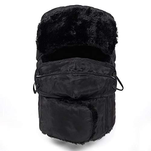 (Men Women Winter Hat Warm Thicker Bomber Hats with Mask Resist Snow Windproof Ride Hats Couple Ski Cap,Black)