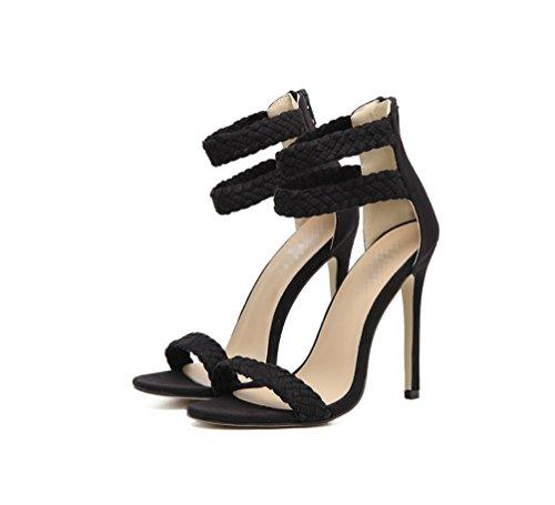 Sandalias De Zhhzz Señoras Shoes Heel comfort Tacón Beak Heel Woven Fine Negro Alto Liangxie stylish Fish pure Sandalias Strap Classic Color xHYnwqpwA0