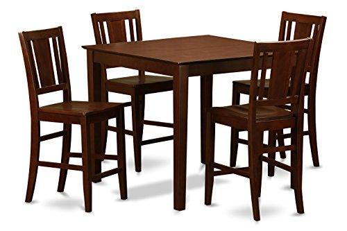 East West Furniture EWBU5-MAH-W 5-Piece Pub Table Set, Mahogany Finish ()