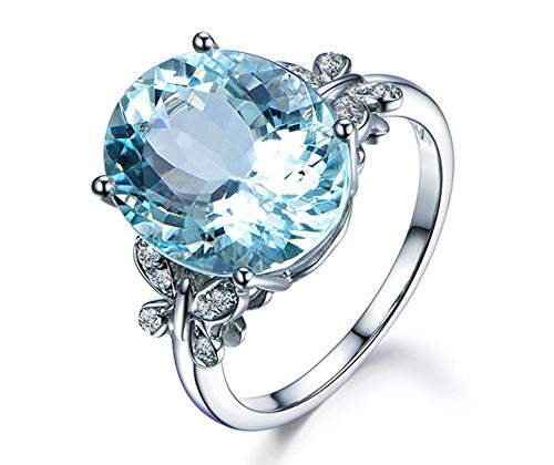 Blue Topaz Butterfly Ring - Aimys Fashion Elliptical Perfect Cutting Women Rhinestone Butterfly Natural Stone Topaz Crystal Butterfly Engagement Ring Gemstone Sapphire Rhinestone Ring for Women Wedding Party Jewelry Size 6-10