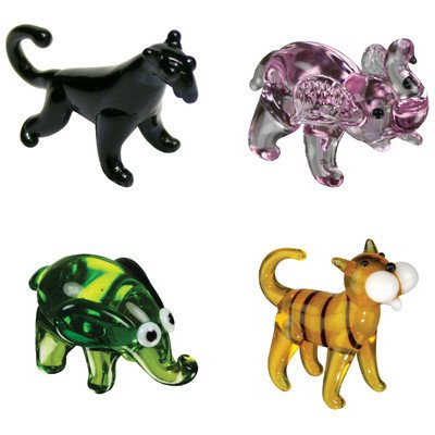 Miniature BlackiePanther, P-Nut Elephant, Ellie Elephant, Tommy Tiger Figurine Set