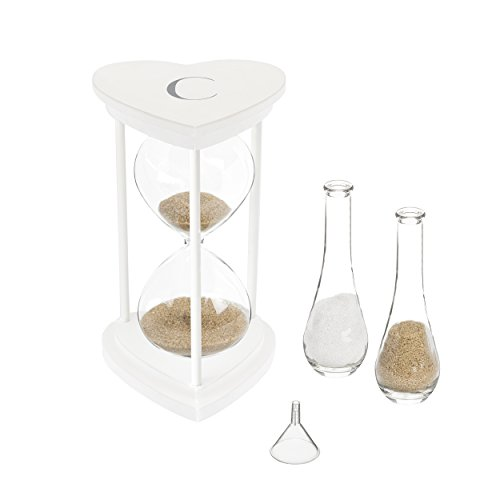 Cathy's Concepts S3967W-7-C Personalized Silver Unity Sand Ceremony Hourglass Set, One Size, White Print]()