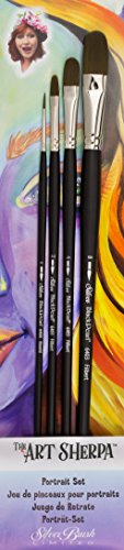 Silver Brush AS-4104 THE ART SHERPA Portrait Set Beginning Acrylic Paintbrush by Silver Brush