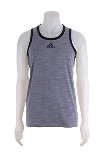 adidas Men's Basketball Heathered Tank Top, Grey/Black, XX-Large Tall