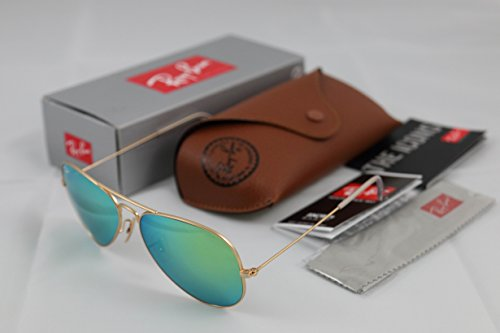 Ray-Ban Aviator RB3025 Green Mirrored Sunglasses with Gold Frame - Ban Mirrored Ray Green