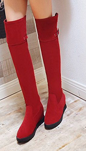 Cuissardes Femme Aisun Rouge Longues Bottes Talon Compensé Confort XU6UwPqH