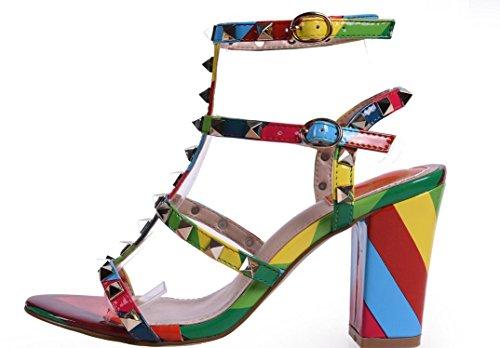 YCMDM Codice WomenBig scarpe col tacco alto arcobaleno cinghie Rivet sandali spessi Colore Rosa Nero albicocca 39 36 35 38 37 40 , color , 36
