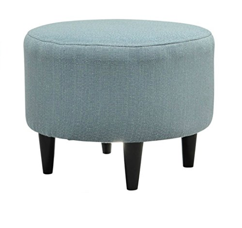 Round Ottoman Chair Coffee Table Extra Seating Feet Rest (Bay blue) ()